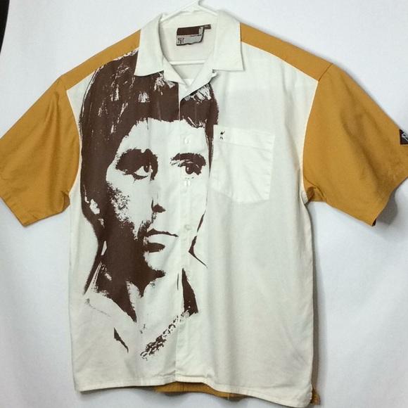 2b633386da68 Vintage Scarface Clothing Al Pacino Button Shirt. M 5c61c91a5c44528da7a0dae6